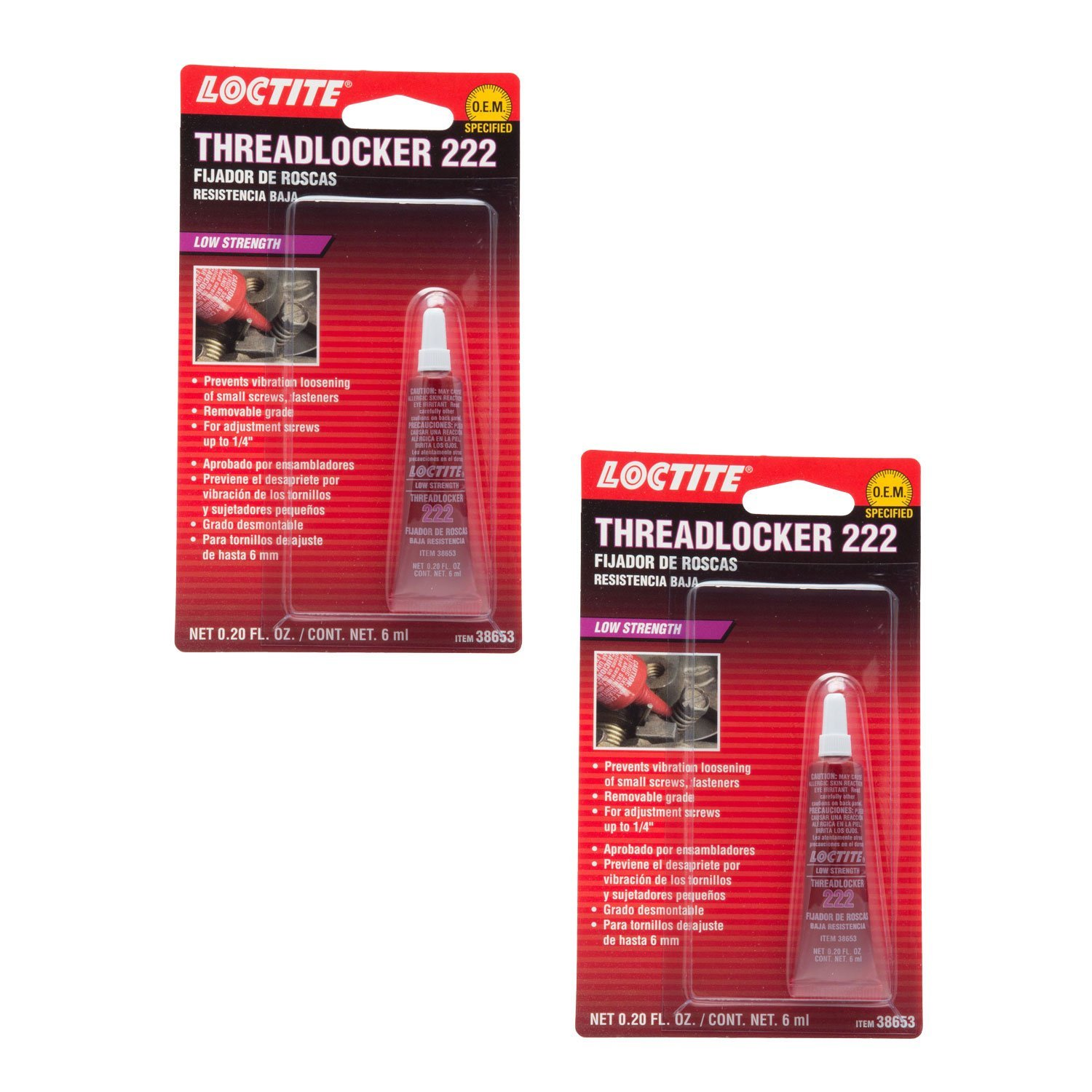 Loctite 38653 222 Purple Low Strength Thread Locker Tube - 6 ml -2 Pack by Loctite