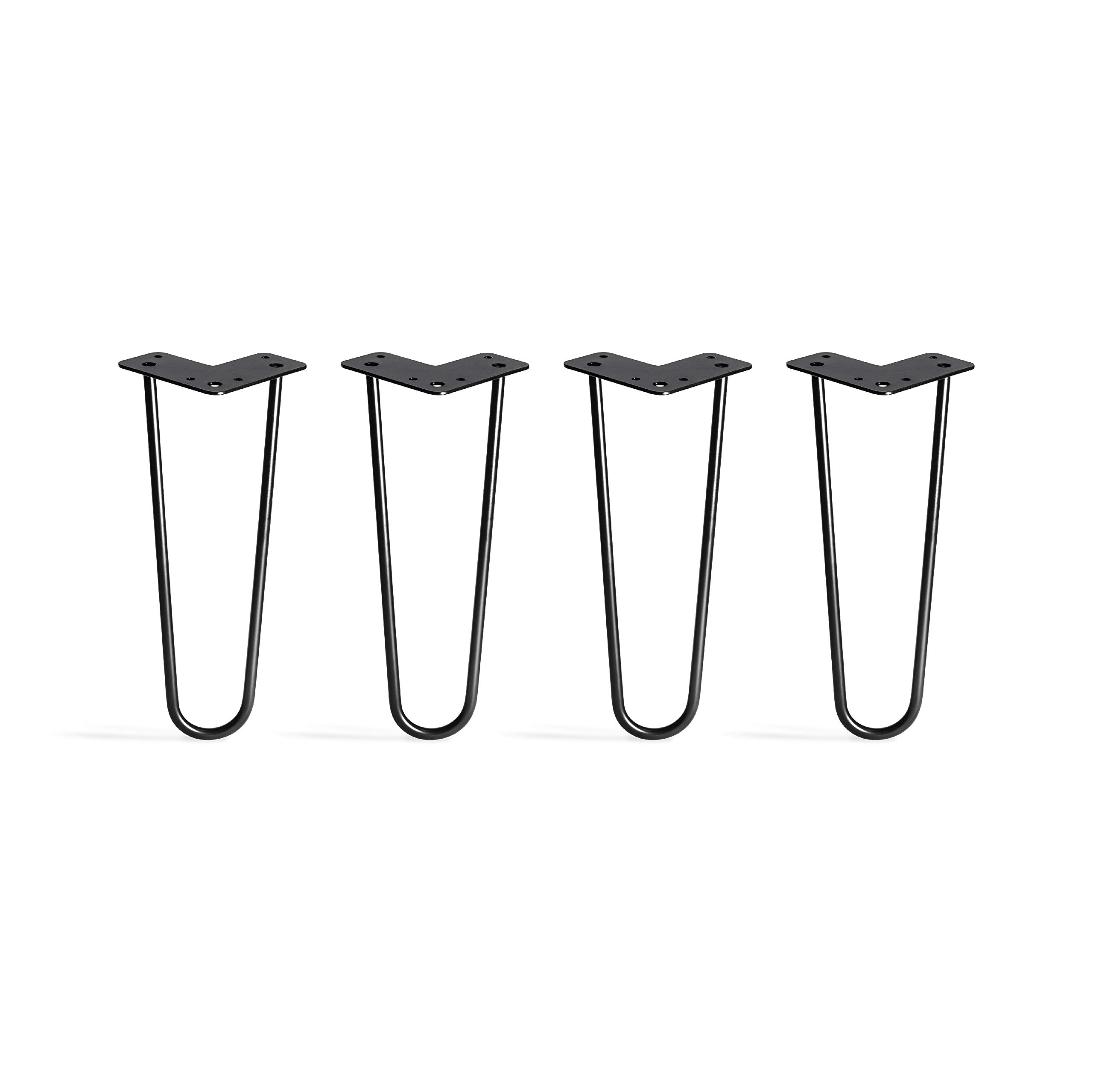 TEN49 Heavy Duty Hairpin Table Legs 12 inches / Industrial / Set of 4 Table Legs / Simple Installation / DIY / Black Coated