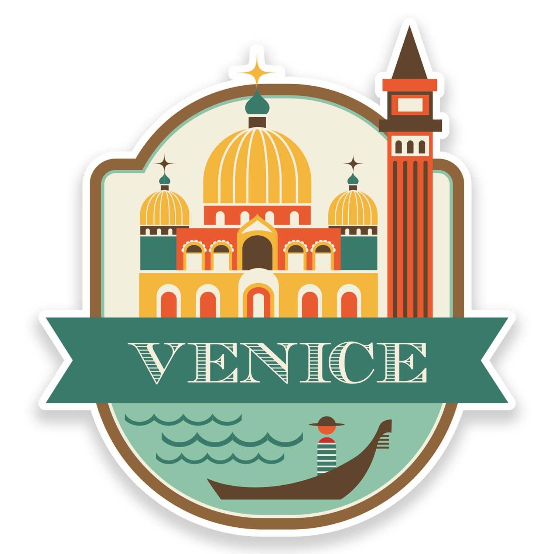 2 x 10cm venice italy vinyl sticker luggage travel tag label car