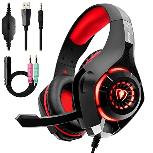 Auriculares Gaming Premium Stereo con Microfono para PS4 PC Xbox One, Cascos Gaming con Bass Surround Cancelacion ruido, Diadema Acolchada y ...