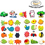 24 pcs Cute Animals Fridge Magnets For Kids Toddler,Magnetic Board With Letters And Numbers Magnet Toy For Refrigerator,Children Educational Game Magnetic Letters&Words Classic Wooden Animal Magnet