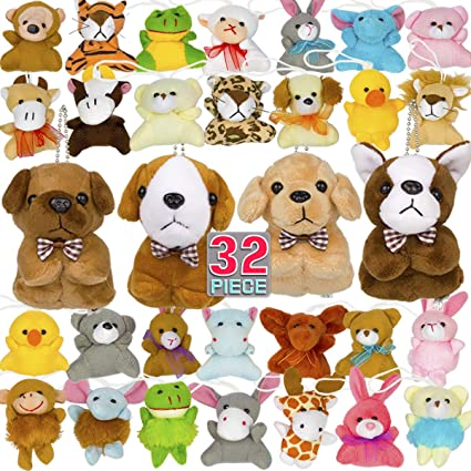 Set Of Dog Stuffed Animals, Amazon Com Mini Plush Animal Toy Set Cute Small Stuffed Zoo Animals Plush Keychains For Kids Themed Parties Kindergarten Teacher Student Award Party Favors Goodie Bag Fillers Toys Games