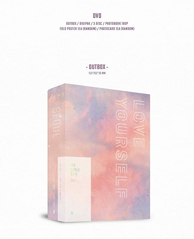 BigHit BTS Bangtan Boys - BTS World Tour Love Yourself DVD 3Discs+180p  Photobook+On Pack Poster+Photocard+Double Side Extra Photocards Set