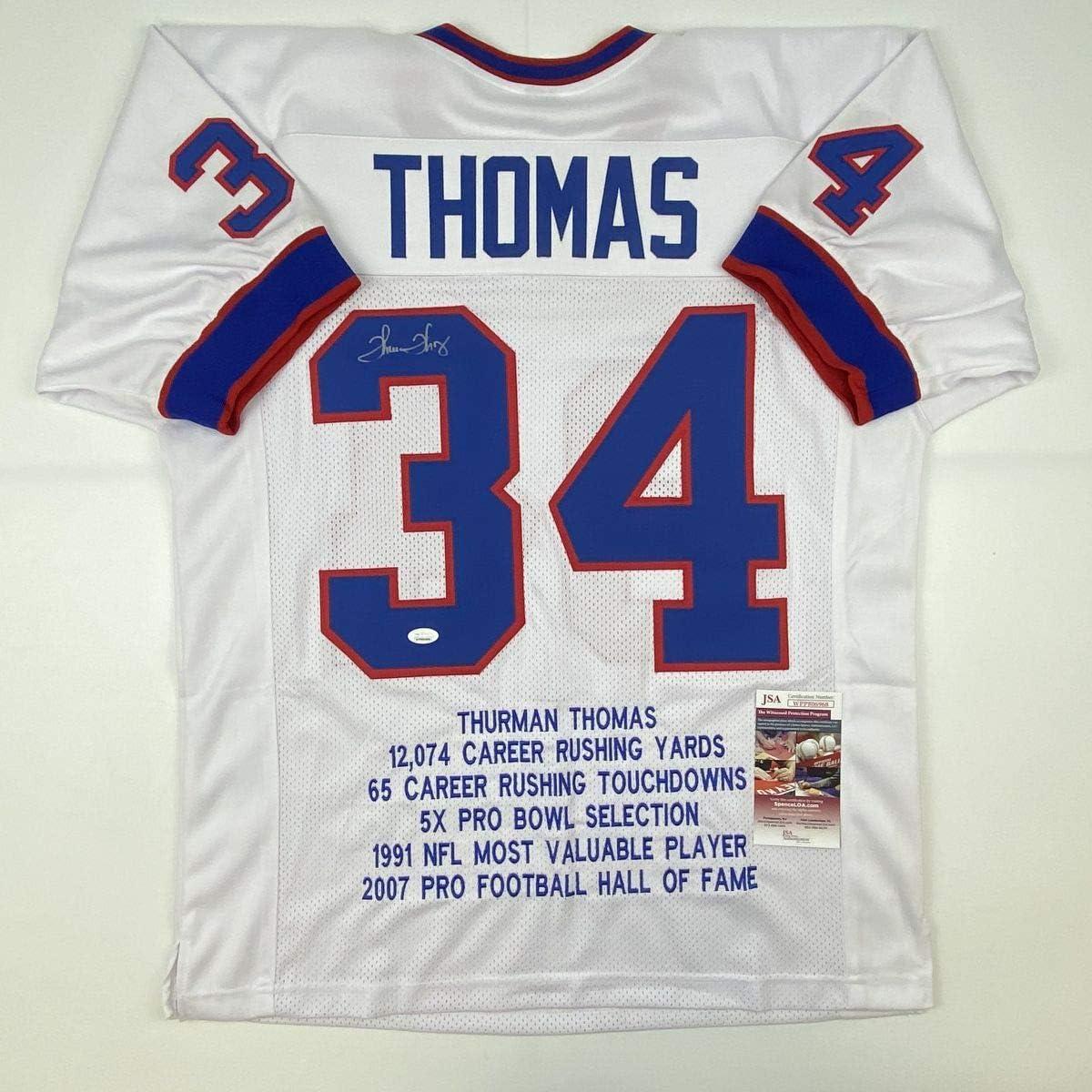 Autographed/Signed Thurman Thomas Buffalo White Stat Football Jersey JSA COA
