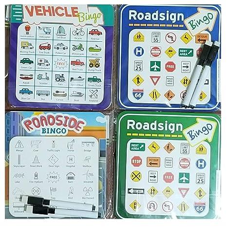 Set Of 4 Travel Car Vehicle Roadside Bingo Cards With