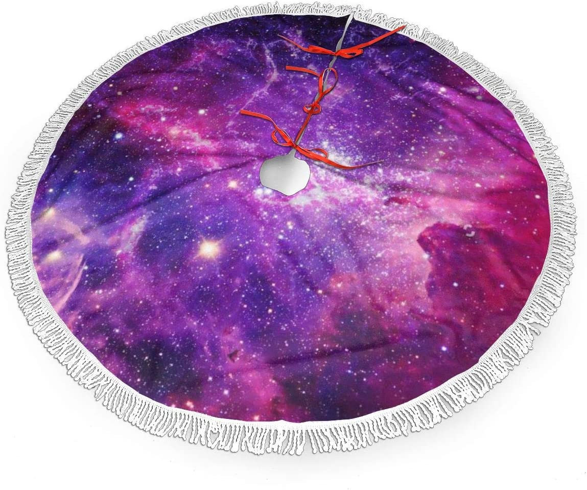 MSGUIDE Bursting Galaxy Purple Christmas Tree Skirt with Tassel, Xmas Tree Mat Base Cover Christmas Ornament for Festive Holiday Party Decoration(48inch)