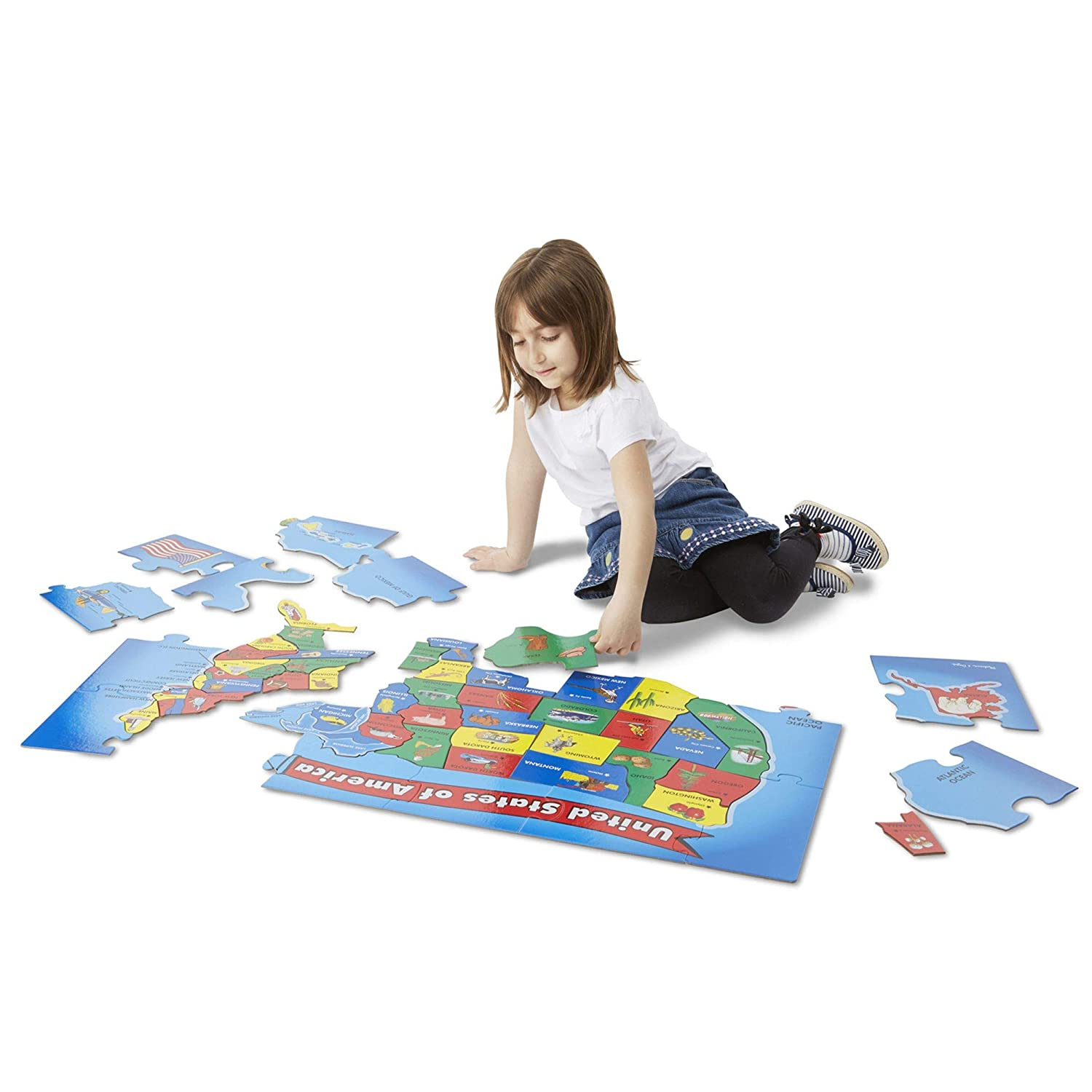 Teaches Geography & Shapes, 51 Pieces, Measures 24-in Long x 36-in Wide