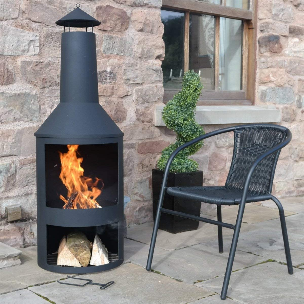 Includes Poker wegist-weg.com FireStove Ming Patio Stove Fire Pit Diameter 45 x 135 cm Black Wood Stove Heat Resistant Powder-Coated Garden Stove Rust-Proof Fire Basket with Stable Stand