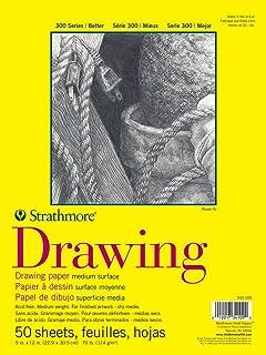 Strathmore 340-114 300 Series Drawing Pad, Medium Surface, 14'x17' Glue Bound, 50 Sheets
