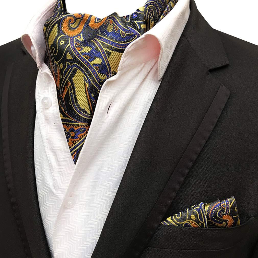 MOHSLEE Mens Luxury Paisley 3 Pack Cravat Silk Ascot Scarf Tie Pocket Square Set Fz137