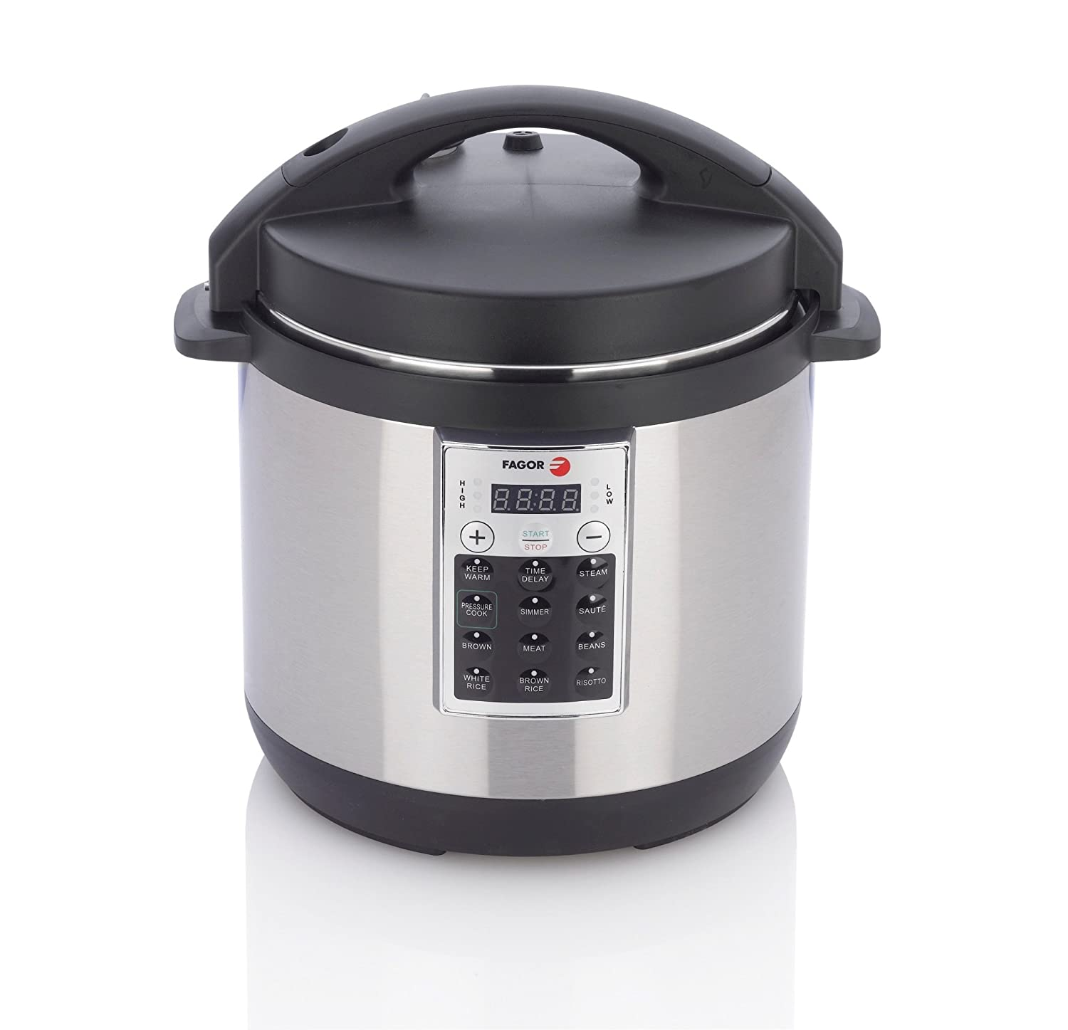 Amazon.com: Fagor 670041930 Premium Electric Pressure and Rice Cooker, 6  quart, Silver: Kitchen & Dining