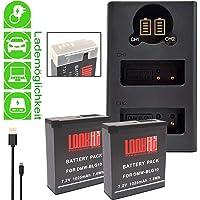 2x LOOKit Premium Akku BLG10- echte 1025mAh + LOOKit Dual USB LCD Ladegerät für Panasonic Lumix DC TZ202 TZ96 GX9 DC-LX100 II - 100% dekodiert - mit Infochip