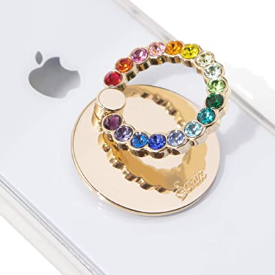 Sonix Embellished Crystal Rhinestone Phone Ring and Stand (Gold, Rainbow)