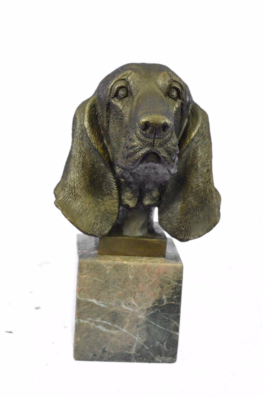 Handmade European Bronze Sculpture Hush Puppy Basset Hound Scent Dog Breeder Marble Decor Bronze Statue -UKXN-2479-Decor Collectible Gift