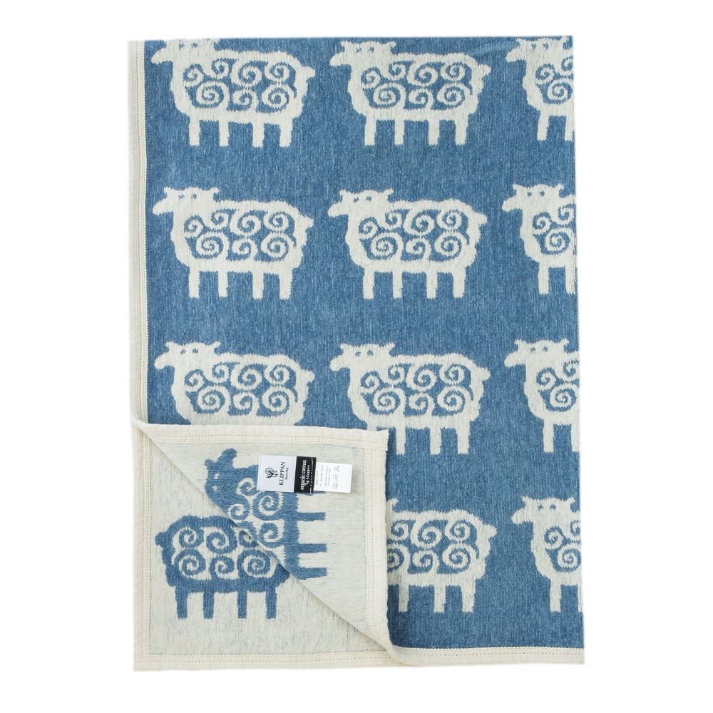 クリッパン コットンブランケット ハーフサイズ 90 x 140cm 送料無料 (カラー:sheep/blue) KLIPPAN [並行輸入品] B077LPGN2W 03/sheep/blue