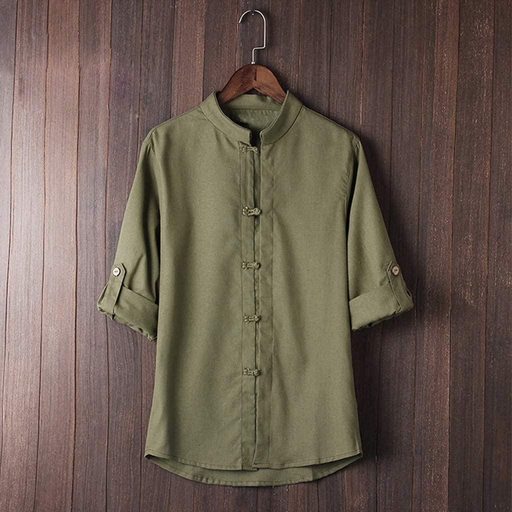 4XL, Navy,Green,White,Gray Men Shirts Vintage Classic Chinese Style Kung Fu Tops Tang Suit 3//4 Sleeve Cotton T Shirt Blouse