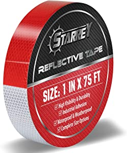 Starrey Reflective Tape Red White 1 in X 75 FT Waterproof Self Adhesive Trailer Safety Caution Reflector Conspicuity Tape for Trucks Cars …