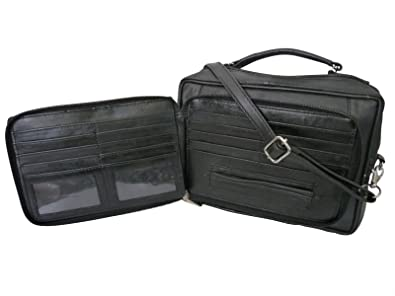 2d8209a4fd ROAMLITE Borsello da Viaggio da Uomo – Borsa Organizer In Pelle Nera Con  Tracolla – con