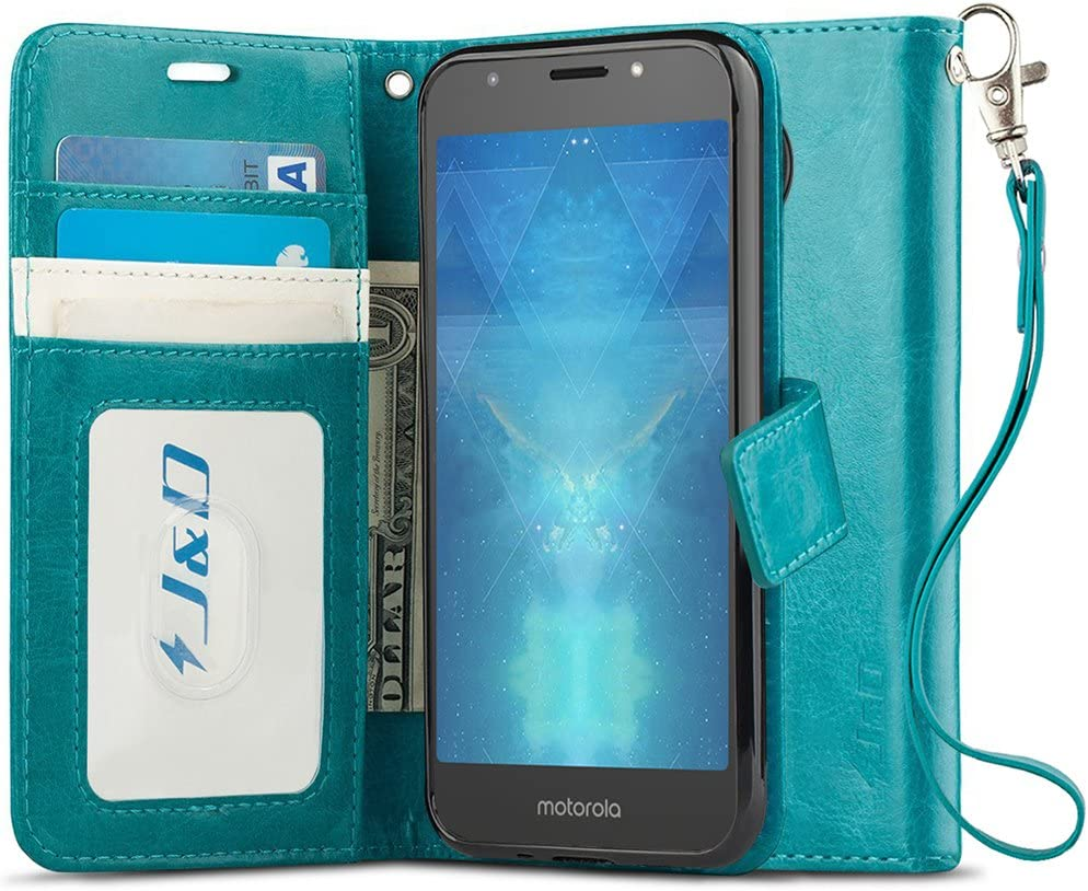 J&D Case Compatible for Moto E5 Play/Moto E5 Cruise Case, Wallet Stand Slim Fit Heavy Duty Protective Shock Resistant Flip Cover Wallet Case for Motorola Moto E5 Play/Moto E5 Cruise Wallet Case