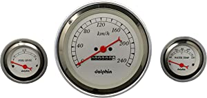 Dolphin Gauges 1957 Chevy Car 3 Gauge Dash Cluster Panel Metric Mechanical White