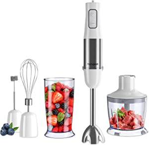 homgeek 5-in-1 Immersion Hand Blender 500w, 6-Speed Stick Handheld Blender, Stainless Steel Electric Soup Mixer with BPA-free Food Chopper, 600ml Beaker, Whisk, Milk Frother