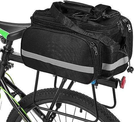 SYCHONG Impermeable Función Multi Asiento Excursión En Bicicleta Bicicleta Posterior del Tronco Bolsa De Transporte del Paquete del Equipaje del Estante Alforjas con La Cubierta Impermeable,Negro: Amazon.es: Deportes y aire libre