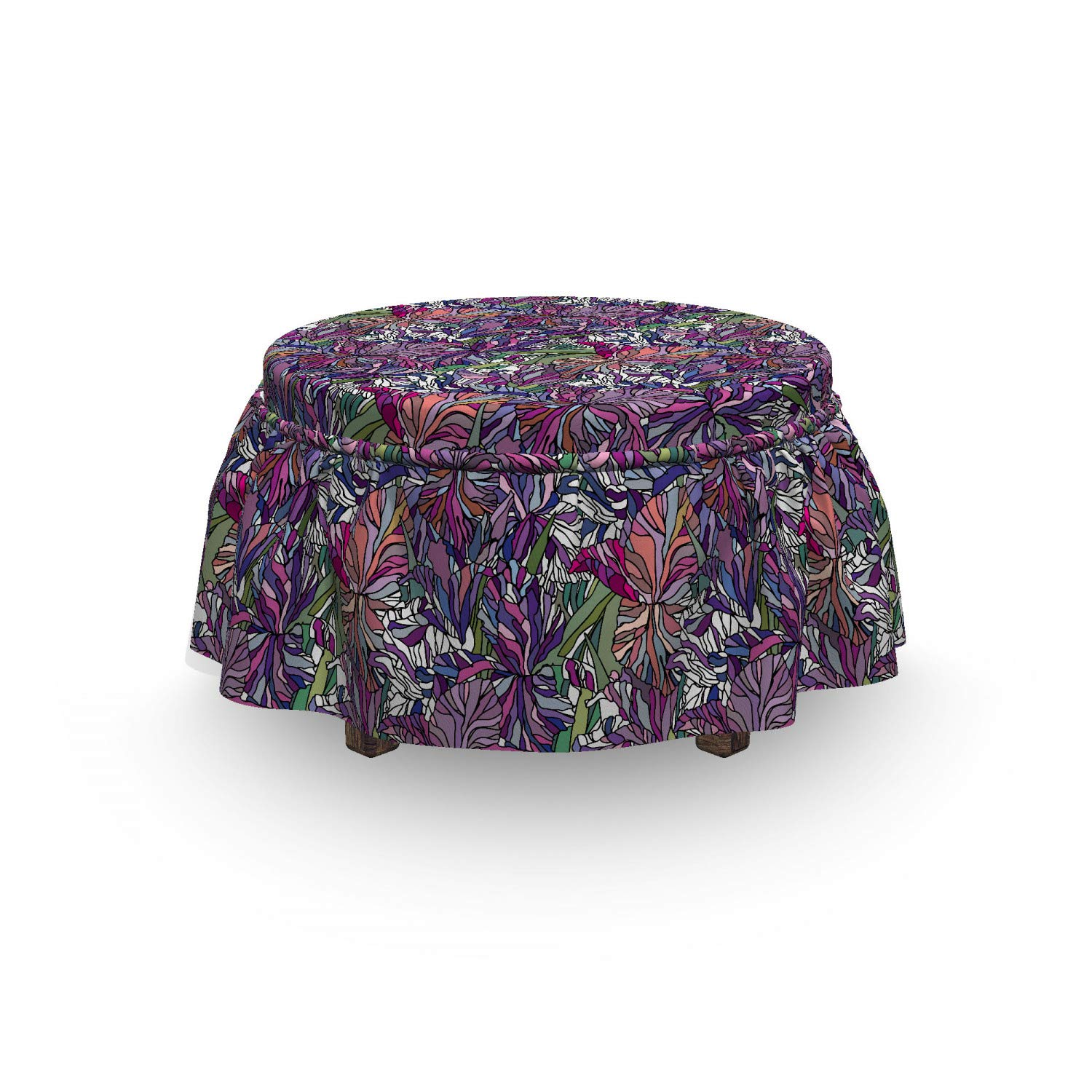 Fantastic Amazon Com Ambesonne Floral Ottoman Cover Tropical Jungle Bralicious Painted Fabric Chair Ideas Braliciousco