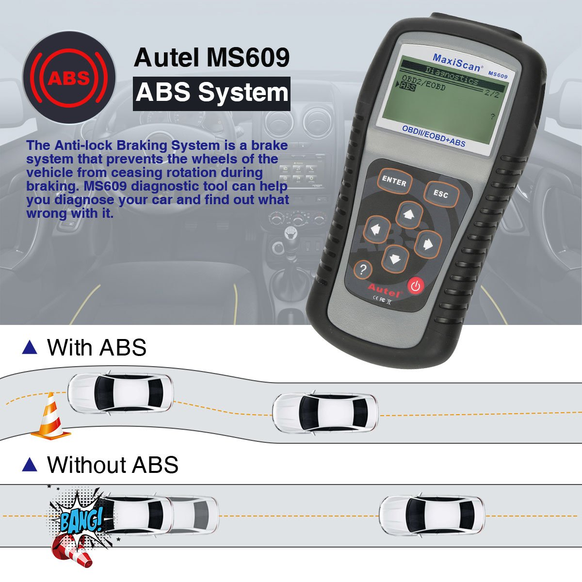 Autel Maxiscan MS609 OBDII/EOBD Scanner with ABS Diagnostic Scan Tool and  Turn off Engine Light (Upgraded Version of MS509 & AL519)
