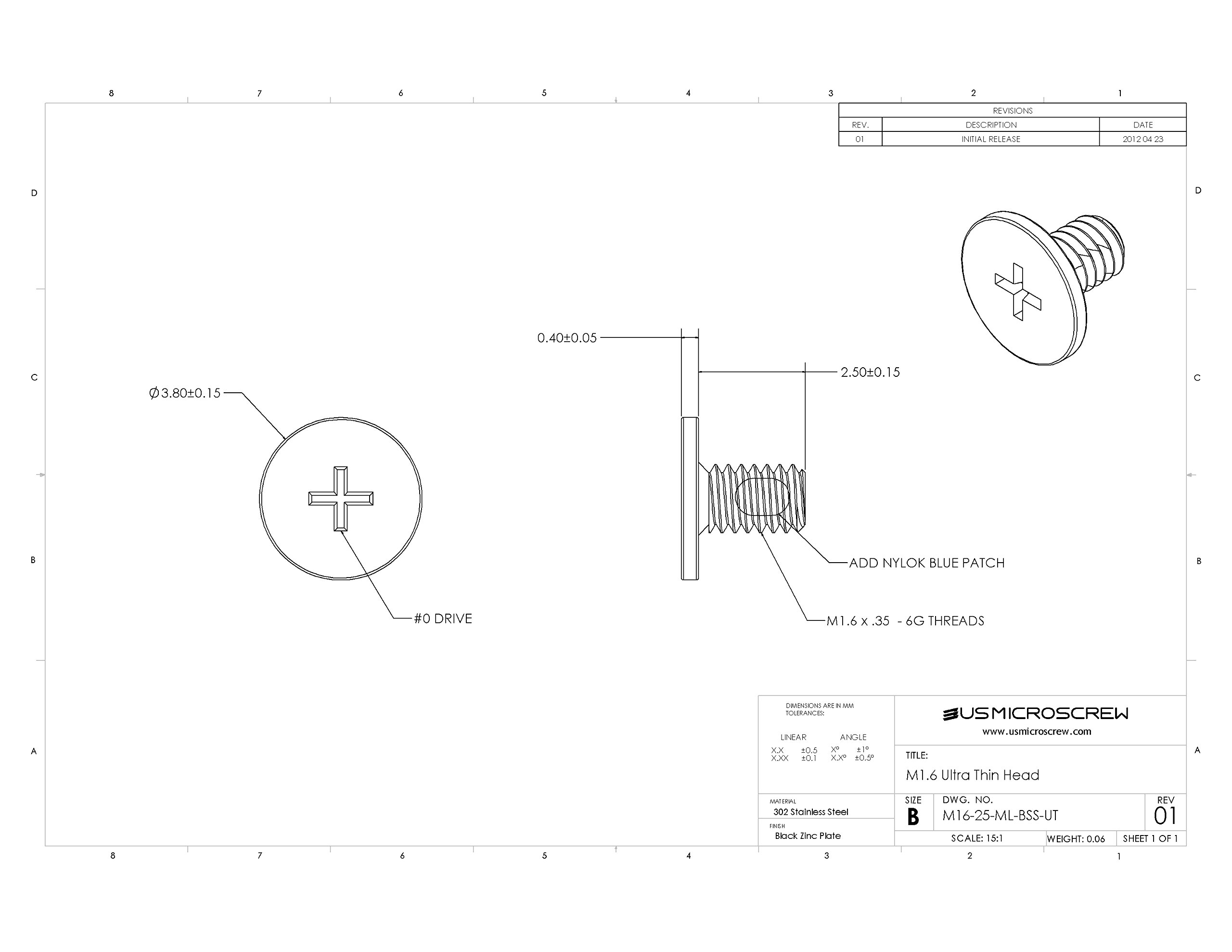 M1.6 - 0.35 X 2.5mm Machine Screw With Thread Lock Black Stainless Steel Ultra Thin Head Phillips Drive (100 Pcs) - M16-25-ML-BSS-UT