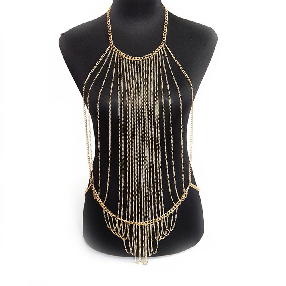 Bikini Cross Body Link Chain Necklace Multilayer Crossover Harness Waist Belly Body Chain Necklace SIYWINA STL024