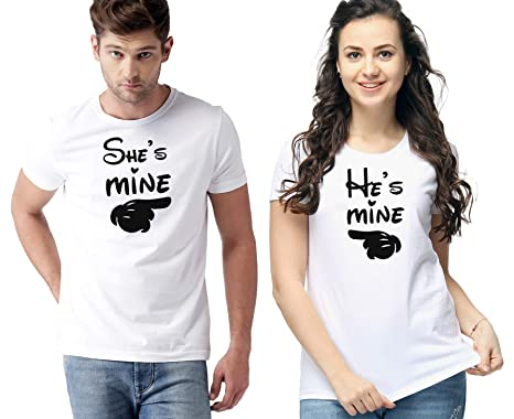 784a4e0d65 WC RIGHT Men's and Women's He and She Mine Pair Graphic Printed Polyester  Dri Fit T