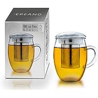 Creano Szklanka do herbaty All in one 400 ml, duża filiżanka do herbaty z sitkiem ze stali nierdzewnej i pokrywką ze…