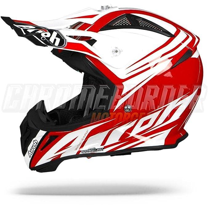 Amazon.es: Airoh Aviator 2.2 listo, color rojo brillante, rojo blanco casco de Motocross