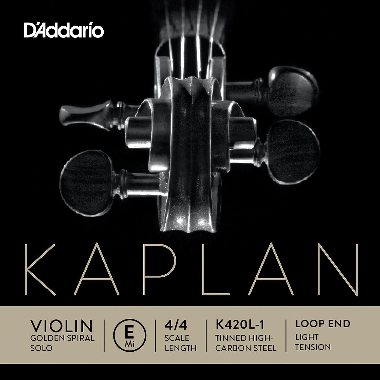 DAddario Kaplan Golden Spiral Solo Violin Single E String 4//4 Scale Medium Tension