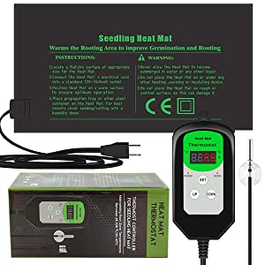 "RIOGOO 9.5""x20.5"" Seedling Heat Mat and Thermostat Controller 68-108°F Digital Thermostat Controller IP68 Waterproof (Heated mat+Thermostat Controller)"