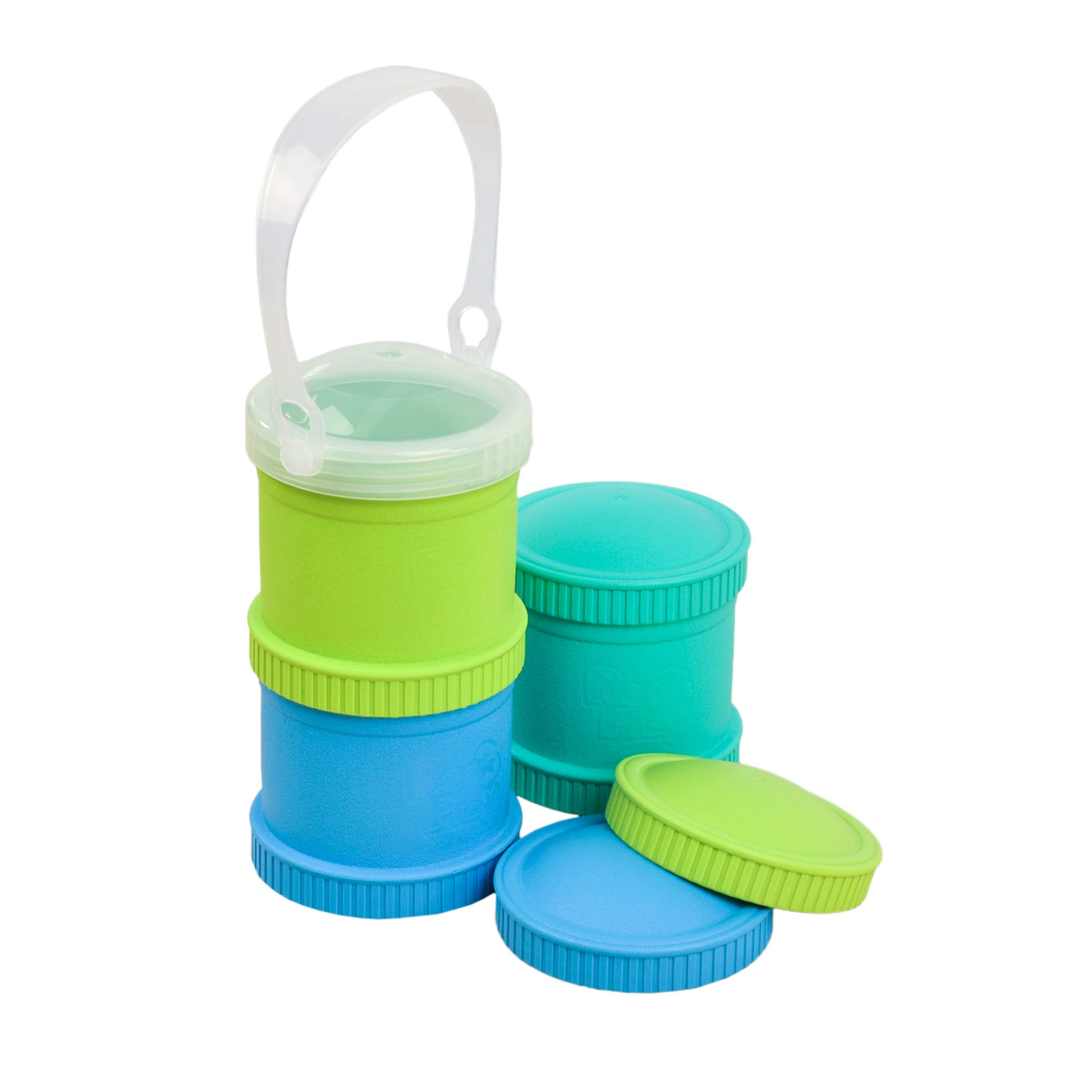 Re-Play Made in The USA 7 Piece Stackable Food and Snack Storage Containers for Babies, Toddlers and Kids of All Ages - Aqua, Green, Sky Blue (Under The Sea)