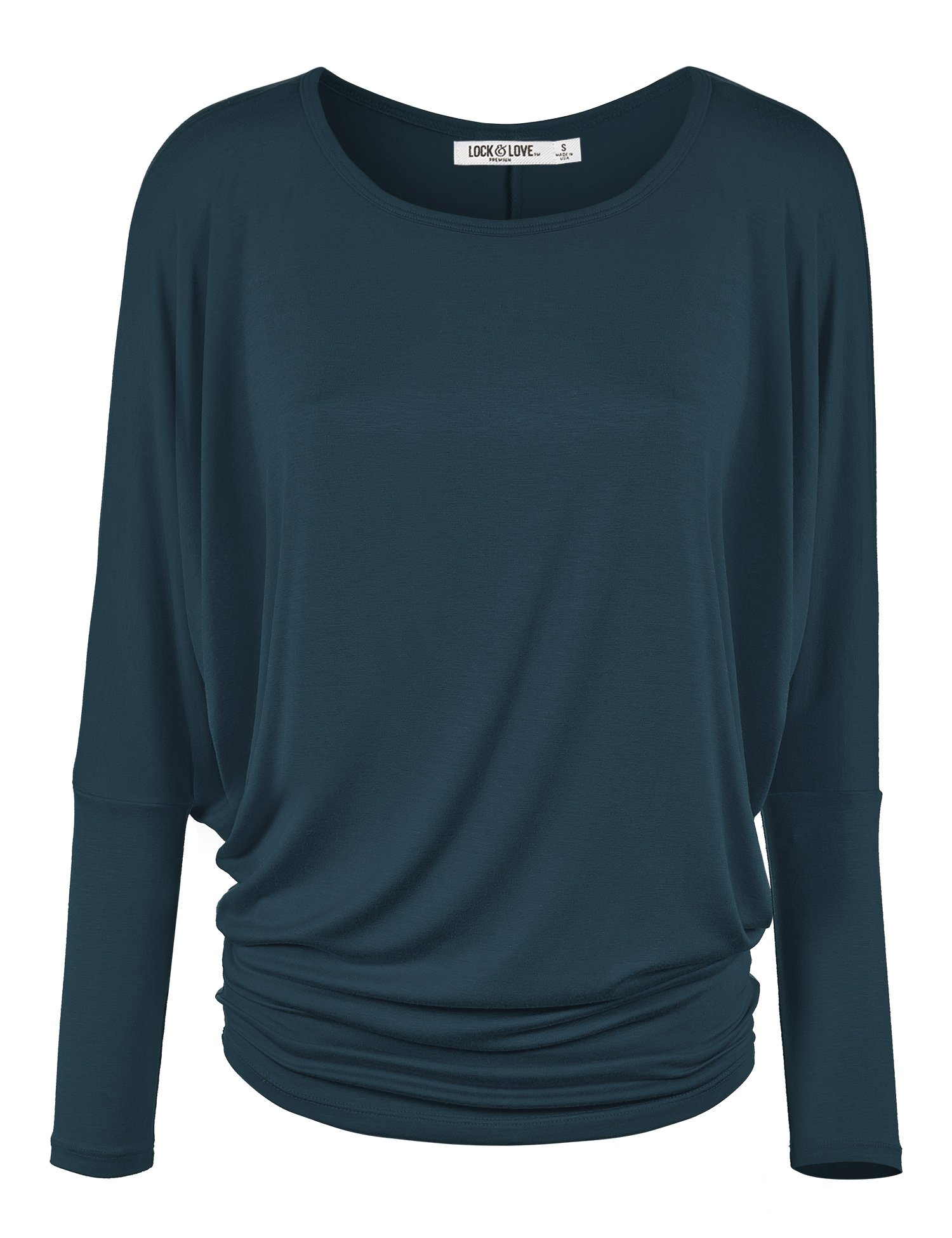 Lock and Love WT826 Womens Batwing Long Sleeve Top L Teal