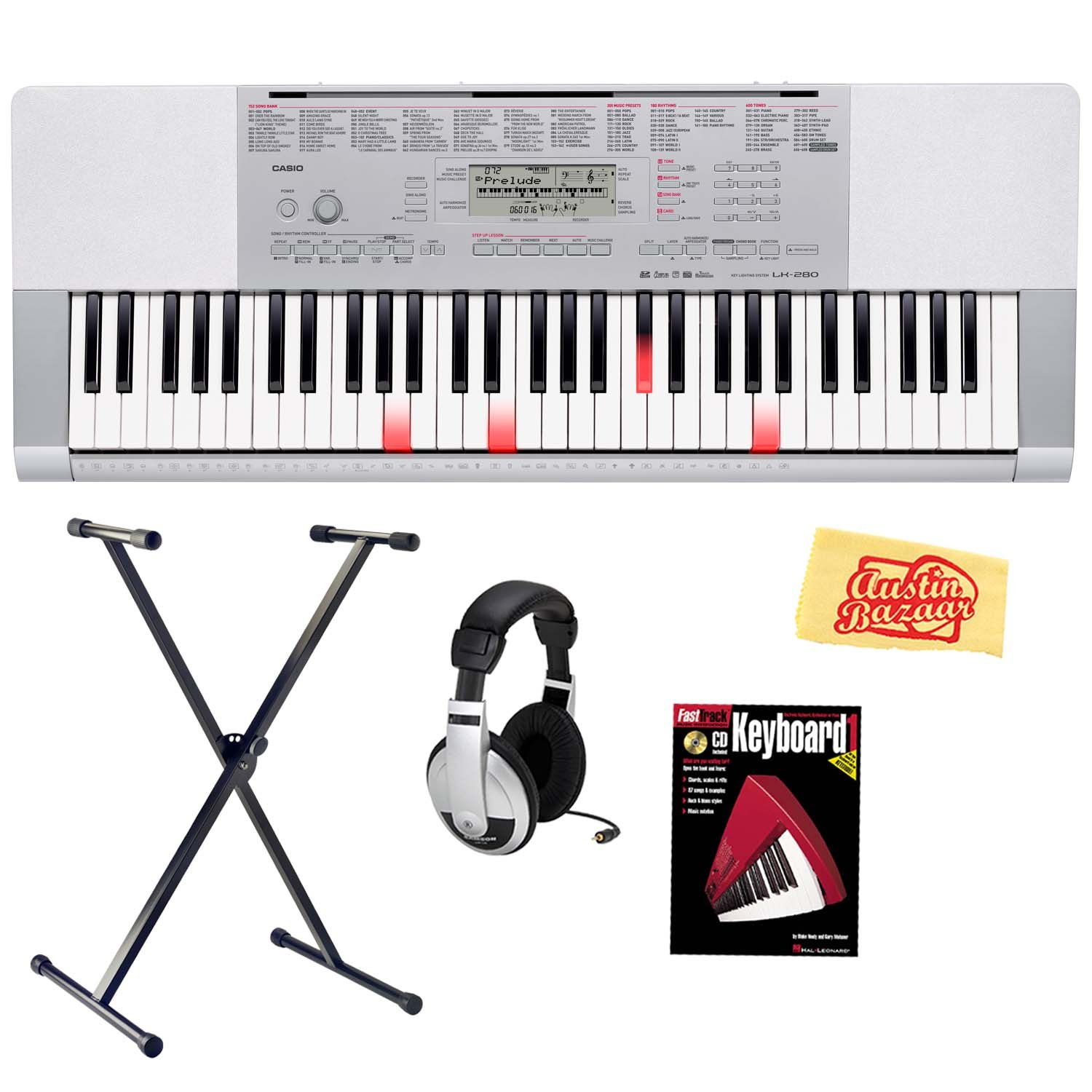 Casio LK-280 61-Key Portable Keyboard with Instructional Light-Up Keys Bundle with Keyboard Stand, Headphones, Instructional Book, and Polishing Cloth by Casio
