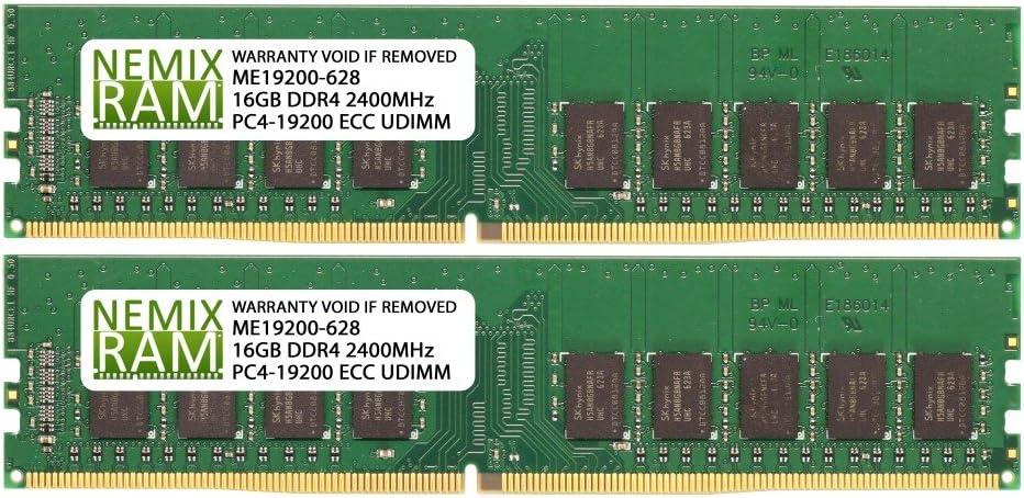 32GB (2x16GB) DDR4-2400MHz PC4-19200 ECC UDIMM 2Rx8 1.2V Unbuffered Memory for Server/Workstation