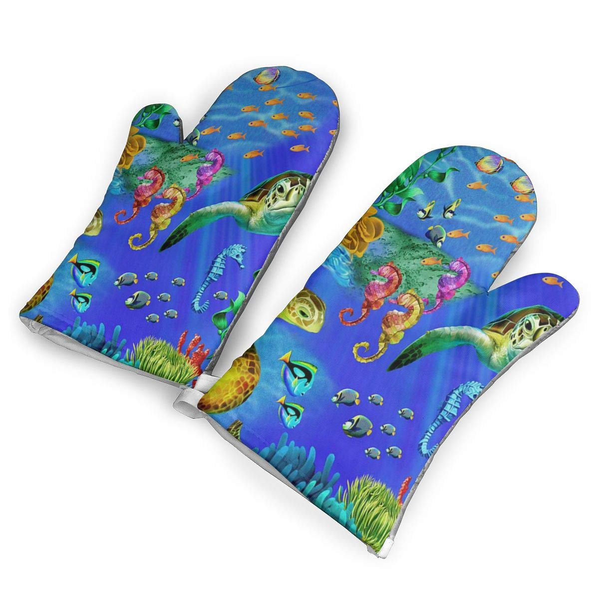 Feederm Sea Life Sea Turtles Oven Mitts,Professional Heat Resistant Microwave Oven Insulation Thickening Gloves Baking Pot Mittens Soft Inner Lining Kitchen Cooking