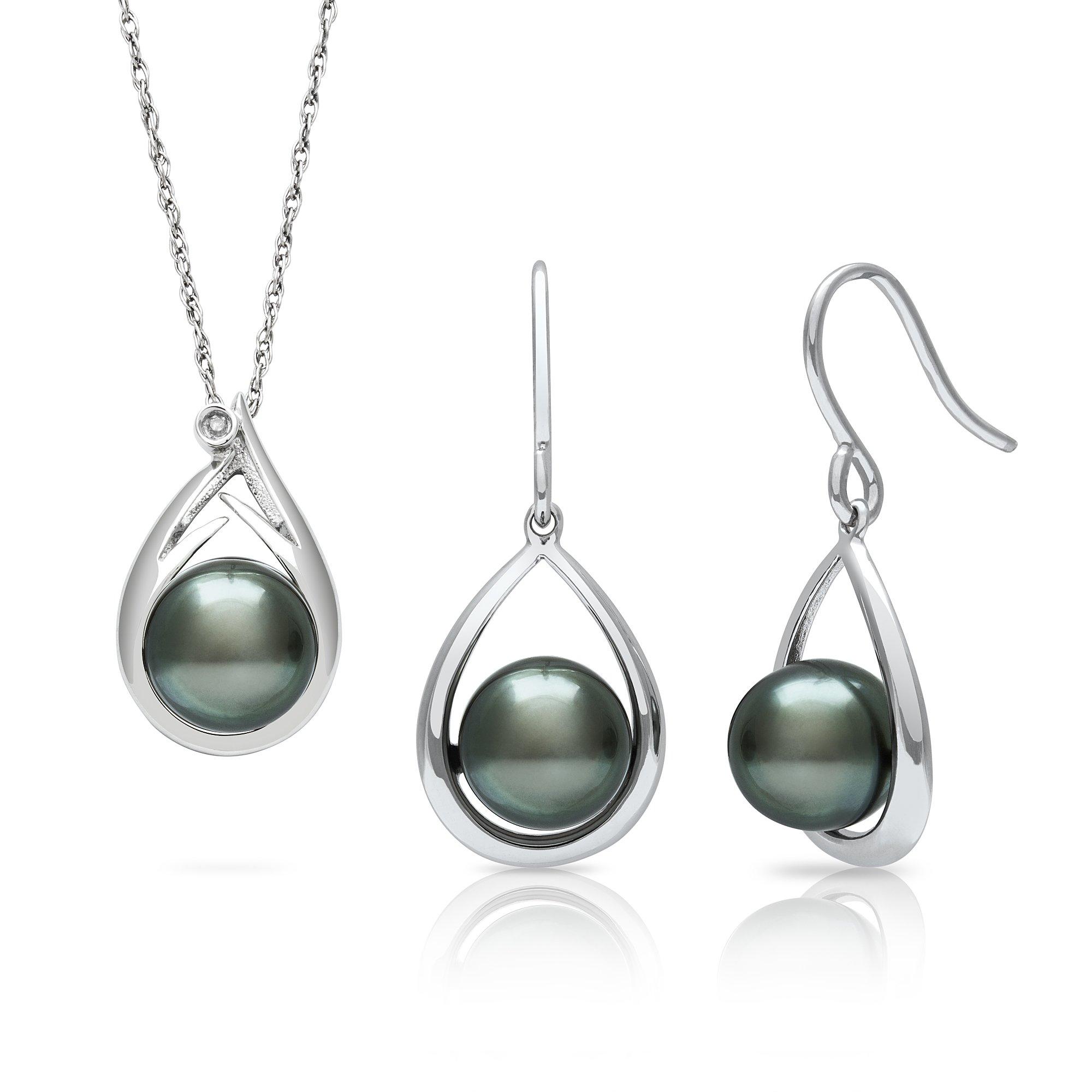 Tahitian Black Pearl Diamond Pendant and Drop Dangle Earring Set in Sterling Silver, 18''