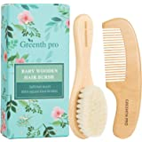 GREENTH PRO Baby Hair Bush and Comb Set -Nature Lotus Wood with Soft Goat Bristle and Pear Wood Comb for Newborns & Toddlers,