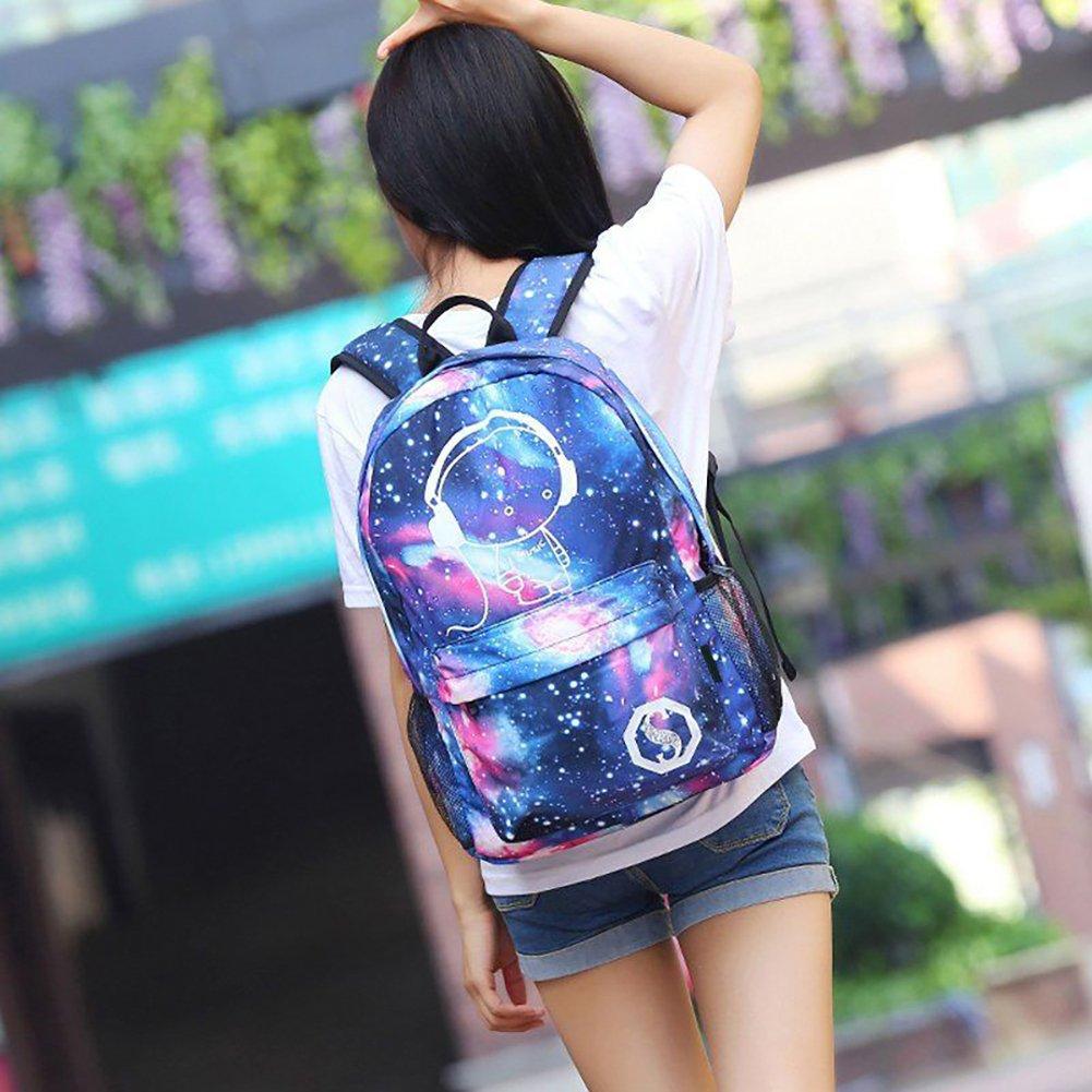 Amazon.com: DAVEVY Luminous Galaxy School Bag + Pen Bag + USB Charger, Anti-Theft Lock Backpack Rucksack Gglowing in Night Night Star Appearance Laptop Book ...