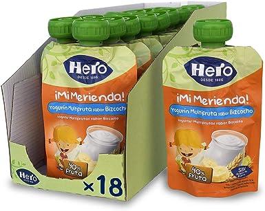 Hero Baby Mi Merienda - Bolsita de Yogurín Multifruta sabor Bizcocho, Sin Azúcares Añadidos, para Bebés a Partir de los 12 Meses - Pack de 18 x 100 g: Amazon.es: Alimentación y bebidas