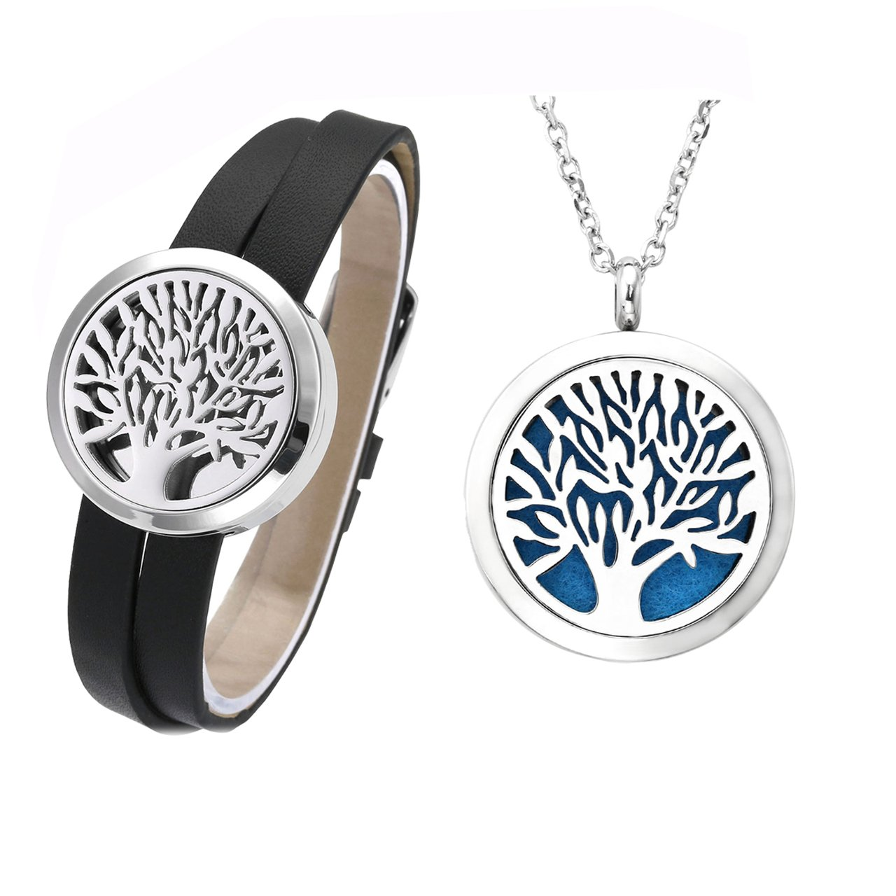Jovivi 30mm Tree Of Life Essential Oil Diffuser Locket Detachable Genuine Leather Bracelet and Aromatherapy Pendant Necklace Set w/12 Felt Pads and Box by Jovivi (Image #8)