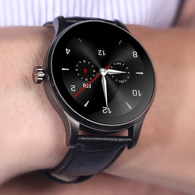 toobur k88h reloj inteligente 1,22 pulgadas IPS redondo Protector de apoyo - Monitor de frecuencia cardiaca Bluetooth reloj inteligente para Apple iOS ...