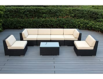 Ohana Outdoor Patio 7 Piece All-Weather Black Wicker Sectional Sofa Set with Beige Cushions : 7 piece sectional couch - Sectionals, Sofas & Couches