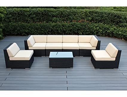 Ohana 7 Piece Outdoor Patio Furniture Sectional Conversation Set, Black  Wicker With Beige Cushions