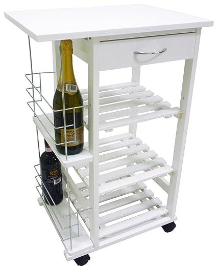 Carrito auxiliar de cocina en madera, color blanco, con cajón, botellero