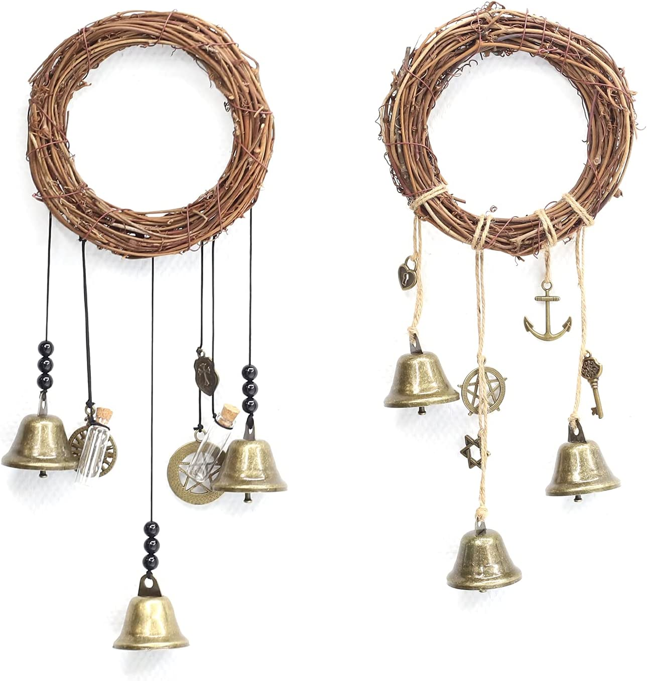 2 Pieces Witch Bells,Home Protection Hanging Bell Magic Wind Chimes for Health and Safe,Clear Negative Energies - Wiccan Decor,Witchcraft Supplies,New Home Gift,Home Door Decor (Nature, 2)